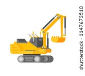 vector mini excavator in half... | Shutterstock .eps vector #1147673510