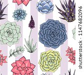 succulents seamless striped... | Shutterstock .eps vector #1147682096