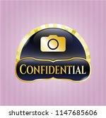 gold shiny emblem with photo... | Shutterstock .eps vector #1147685606