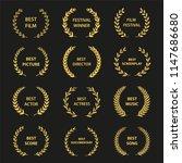 golden vector laurel wreaths on ... | Shutterstock .eps vector #1147686680