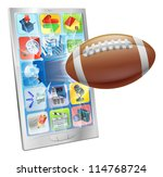 Illustration of an American football ball flying out of mobile phone screen - stock photo