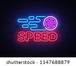 speed night neon logo . racing... | Shutterstock . vector #1147688879
