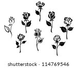 Stock vector beautiful roses silhouettes set for holiday gift design such a logo jpeg version also available 114769546