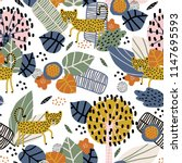 seamless pattern with cute... | Shutterstock .eps vector #1147695593