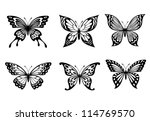Stock vector beautiful butterflies in monochrome style for tattoo design such a logo jpeg version also 114769570