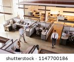 elevated view of staff working... | Shutterstock . vector #1147700186