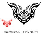 Tribal biker motorcycle tattoo with fire flames. Vector version also available in gallery - stock photo