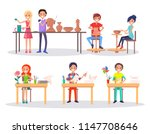 happy boys and girl engaging in ... | Shutterstock .eps vector #1147708646