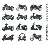 motorcycle bike icons collection | Shutterstock .eps vector #1147710446
