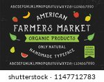 farmers market font.... | Shutterstock .eps vector #1147712783