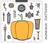 pumpkin house elements. cute... | Shutterstock .eps vector #1147723103