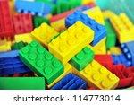 Plastic Toy Blocks On White...
