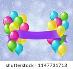 colored balloons with purple... | Shutterstock . vector #1147731713