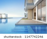 luxury beach house with sea... | Shutterstock . vector #1147742246