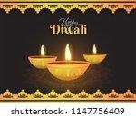 shiny golden lit lamps on brown ... | Shutterstock .eps vector #1147756409