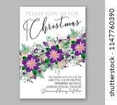 romantic violet peony... | Shutterstock .eps vector #1147760390