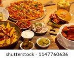pizza  nachos  pasta and burger ... | Shutterstock . vector #1147760636