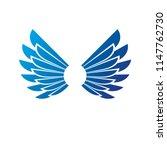 blue freedom wings emblem.... | Shutterstock .eps vector #1147762730
