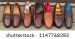 several men's leather shoes ... | Shutterstock . vector #1147768283