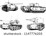 powerful tank with a gun drawn... | Shutterstock .eps vector #1147776203