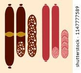 set sausage  cut sausage ...   Shutterstock .eps vector #1147777589