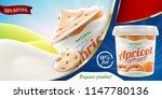 natural apricot greek yogurt... | Shutterstock . vector #1147780136