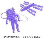 spaceman flying in open space... | Shutterstock .eps vector #1147781669