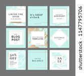 9 square layout templates for... | Shutterstock .eps vector #1147795706