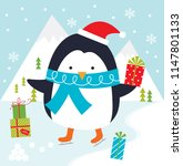 penguin playing ice skating... | Shutterstock .eps vector #1147801133
