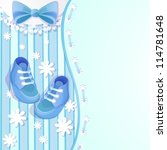 baby shower blue card with baby ... | Shutterstock .eps vector #114781648