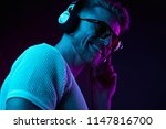 neon light portrait of bearded... | Shutterstock . vector #1147816700