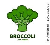 cute smiling smart broccoli in... | Shutterstock .eps vector #1147822733