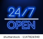 neon sign 24 7 on brick wall... | Shutterstock .eps vector #1147826540