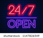 neon sign 24 7 on brick wall... | Shutterstock .eps vector #1147826549