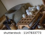 An ancient and historic egg holder to store the eggs next to each other to keep them from falling down or against each other to avoid cracks in Skansen, Stockholm in Sweden