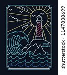 lighthouse in neon style....   Shutterstock .eps vector #1147838699