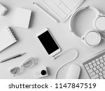 top view of office desk... | Shutterstock . vector #1147847519