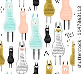 seamless pattern with funny... | Shutterstock .eps vector #1147863113