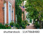 brick row houses along williams ... | Shutterstock . vector #1147868480
