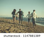 group of young friends spending ... | Shutterstock . vector #1147881389