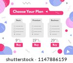 bright pricing table in flat... | Shutterstock .eps vector #1147886159
