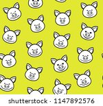 white faces of piglets with a... | Shutterstock .eps vector #1147892576