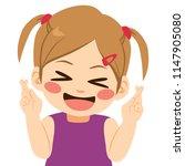 little girl crossing fingers... | Shutterstock .eps vector #1147905080