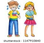 fever girl with allergic of... | Shutterstock . vector #1147910840