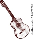 old  guitar   Shutterstock .eps vector #114791203