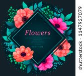 floral frame. tropical flowers... | Shutterstock .eps vector #1147927079