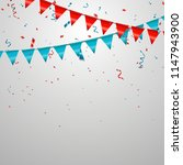 colorful party flags with... | Shutterstock .eps vector #1147943900