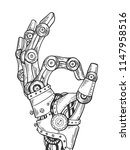 mechanical human robot hand... | Shutterstock . vector #1147958516