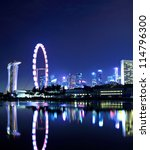 singapore city skyline at night | Shutterstock . vector #114796300