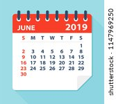 june 2019 calendar leaf  ... | Shutterstock .eps vector #1147969250